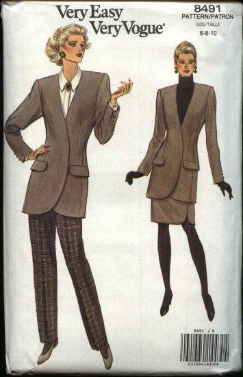 Vogue Sewing Pattern 8491 Misses Size 6-8-10 Easy Jacket Skirt Pants Suit Pantsuit