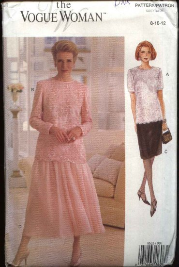 Vogue Sewing Pattern 8635 Misses Size 20-22-24 Easy Formal Top Skirt Two-Piece Dress