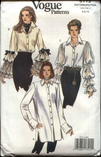 Vogue Sewing Pattern 8773 Misses Size 6-8-10 Easy Shirt Blouse Top Ruffles