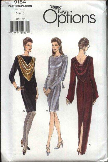 Vogue Sewing Pattern 9154 V9154 Misses Size 6-8-10 Easy Formal Evening Long Short Dress Gown