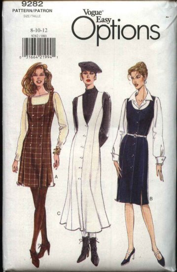 Vogue Sewing Pattern 9282 Misses Size 8-10-12 Easy Straight Flared Jumper