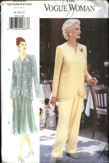 Vogue Woman Sewing Pattern 9596 V9596 Misses Size 8-10-12 Easy Top Skirt Pants Formal