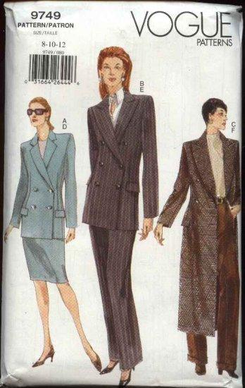 Vogue Sewing Pattern 9749 Misses size 8-10-12 Jacket Skirt Pants Suit Pantsuit Coat