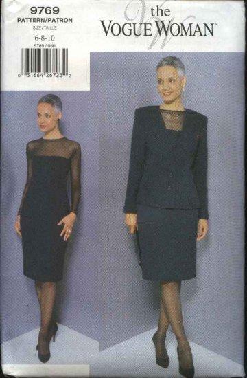 Vogue Woman Sewing Pattern 9769 Misses Size 6-8-10 Classic Dress Jacket Suit