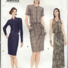 Vogue Sewing Pattern 9816 Misses Size 8-10-12 Easy Button Front Straight Long Short Dress
