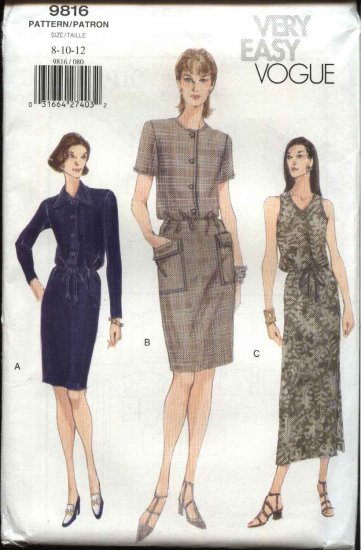 Vogue Sewing Pattern 9816 Misses Size 20-22-24  Easy Button Front Straight Long Short Dress