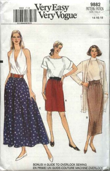 Vogue Sewing Pattern 9882 Misses Size 14-16-18 Easy Classic Straight Flared Skirt