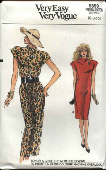 Vogue Sewing Pattern 9899 Misses Size 6-8-10 Easy Straight Sheath Dress