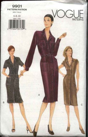 Vogue Sewing Pattern 9901 Misses Size 6-8-10 Easy Button Front Shirtwaist Dress
