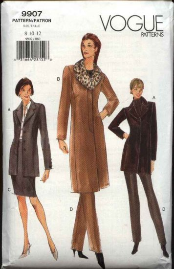 Vogue Sewing Pattern 9907 Misses size 8-10-12 Jacket Skirt Pants Coats Collar Suit Pantsuit