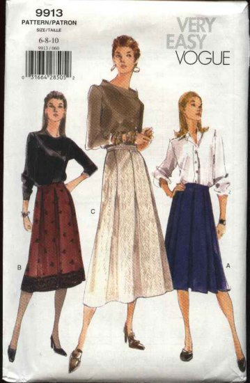 Vogue Sewing Pattern 9913 Misses size 6-8-10 Easy Flared Pleated Skirt