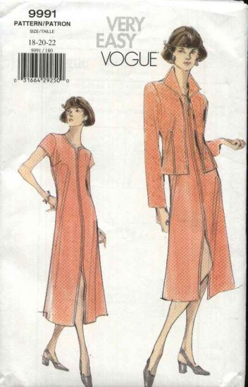 Vogue Sewing Pattern 9991 Misses Size 6-8-10 Easy Unlined Jacket A-line Dress