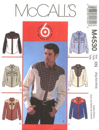 McCall's Sewing Pattern 4530 Men's Size 34-44 Easy Western-Style Shirt
