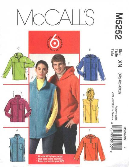 """McCall's Sewing Pattern 5252 Misses Mens chest Size 46-56"""" Easy Fleece Vest Jacket Hoodie"""