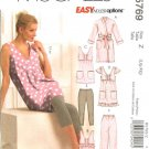 McCall's Sewing Pattern 5769 Misses Size 4-14 Easy Robe Tops Nightgown Leggings Pants Pajamas