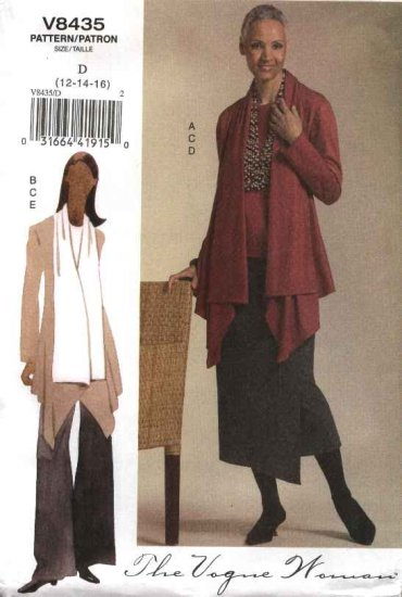 Vogue WomanSewing Pattern 8435 Misses Size 18-20-22 Easy Knit Wardrobe Jacket Top Skirt Pants