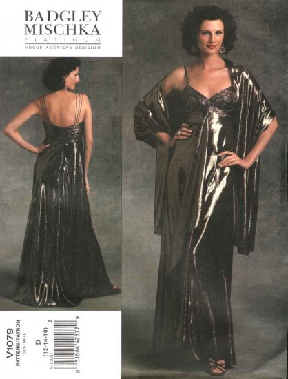 Vogue Sewing Pattern 1079 Misses Size 12-14-16 Badgley Mischka Formal Dress Evening Gown Stole