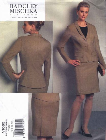 Vogue Sewing Pattern 1065 Misses Size 6-8-10-12 Badgley Mischka Jacket Skirt Suit