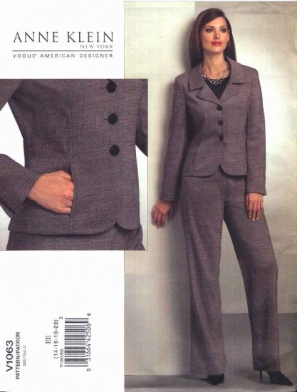 Vogue Sewing Pattern 1063 Misses Size 14-16-18-20 Ann Klein Jacket Pants Pantsuit