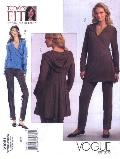 Vogue Sewing Pattern 1061 Misses'/Women's Plus Size 10-32W Knit Tunic Pants Hooded Top