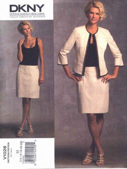 Vogue Sewing Pattern 1028 Misses Size 14-22 DKNY Donna Karan Jacket Dress Suit