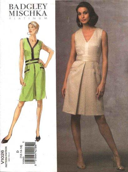 Vogue Sewing Pattern 1026 Misses Size 12-14-16 Easy Badgley Mischka A-Line Dress Belt