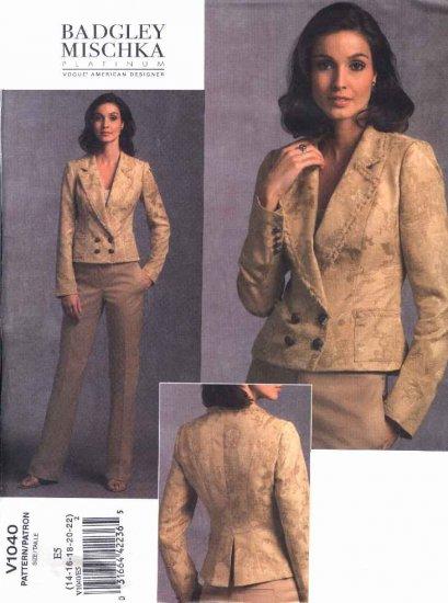 Vogue Sewing Pattern 1040 Misses Size 14-22 Badgley Mischka Jacket Pants Pantsuit