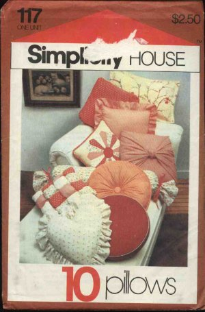 Simplicity Sewing Pattern 117 10 Pillows Cushions Bolster Heart Sqaure Turkish Corners Flanged