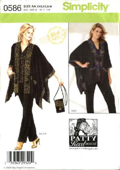 Simplicity Sewing Pattern 0586 Misses Size 4-16 Easy Knit Top Pants Jacket Poncho Purse Patty Reed
