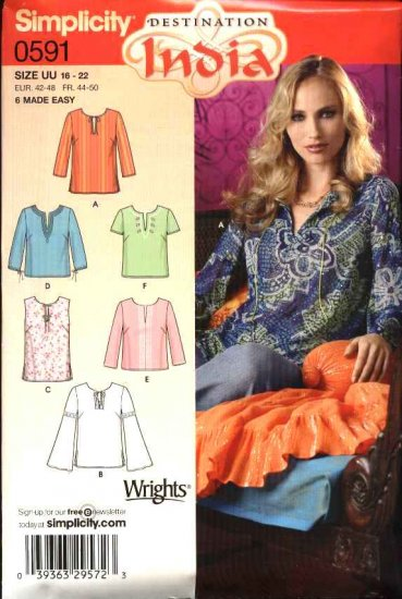 Simplicity Sewing Pattern 0591 5684 Misses Size 8-14 Pullover Tunics Tops