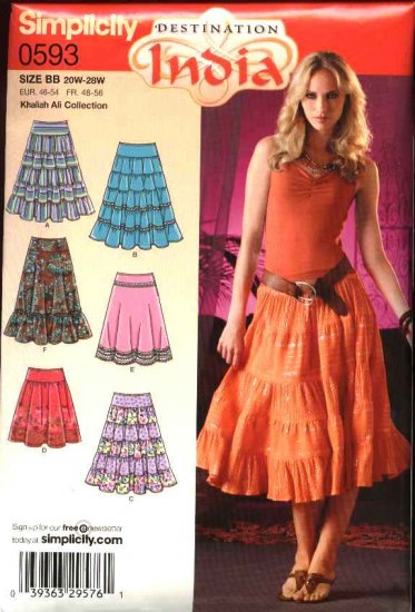 Simplicity Sewing Pattern 0593 4283 0753 Misses Size 10-18 Skirts Flared Tiered Peasant