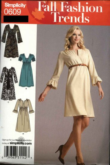Simplicity Sewing Pattern 0609 Misses Size 4-12 Pullover Knit Woven Empire Dress