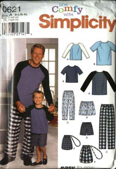 "Simplicity Sewing Pattern 0621 9499 Mens Size 34-48"" Boys Size 22-27"" Pajamas Knit Top Pants Shorts"