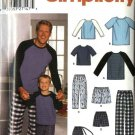 "Simplicity Sewing Pattern 0621 9499 Mens Size 34-48"" Boys Size 22-27"" Pajamas Knit Top Pants Shorts"