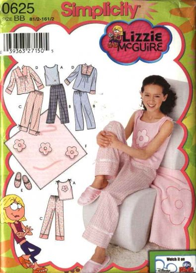 Simplicity Sewing Pattern 0625 5358 Girls Plus Size 8.5 -16.5 Pajamas Pants Knit Top Slippers