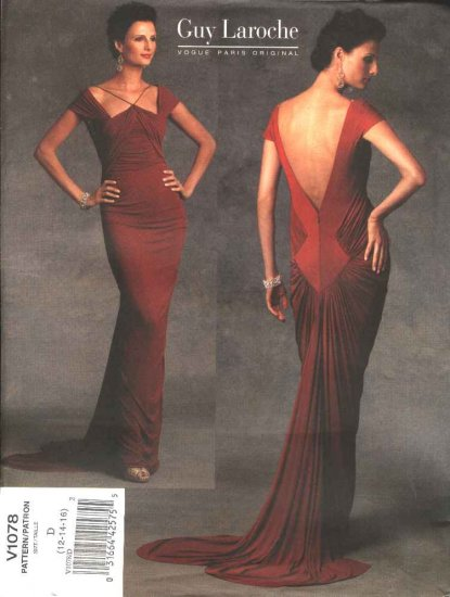 Vogue Sewing Pattern 1078 Misses Size 12-14-16 Guy Laroche Knit Evening Gown Formal Dress Train