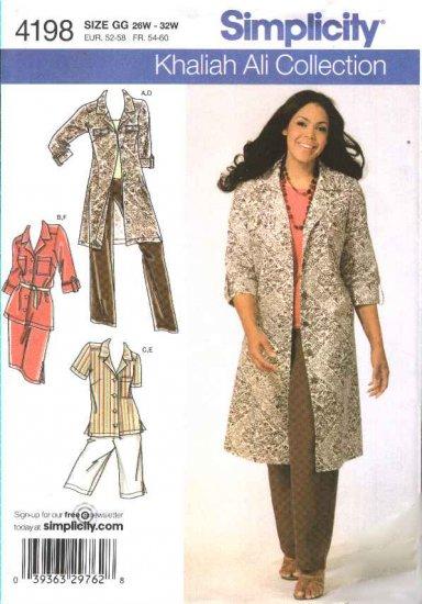 Simplicity Sewing Pattern 4198 Womans Plus Size 18W-24W Wardrobe Shirtdress Pants Shorts Skirt