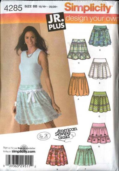 Simplicity Sewing Pattern 4285 Junior Misses Size 5/6-15/16 Yoke Gathered Skirts