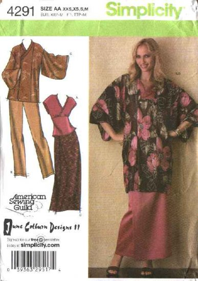 Simplicity Sewing Pattern 4291 Misses Size 4-16 Wardrobe Kimono Top Skirt Pants