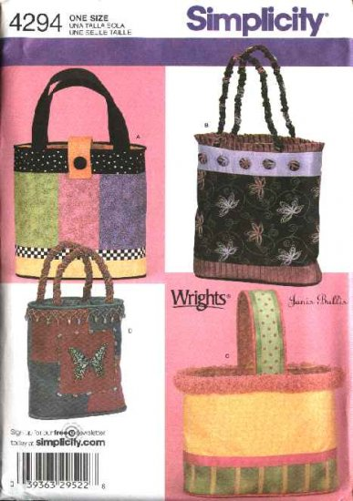 Simplicity Sewing Pattern 4294 Four Lined Bags Totes Totebags Creative Embellishment Beading