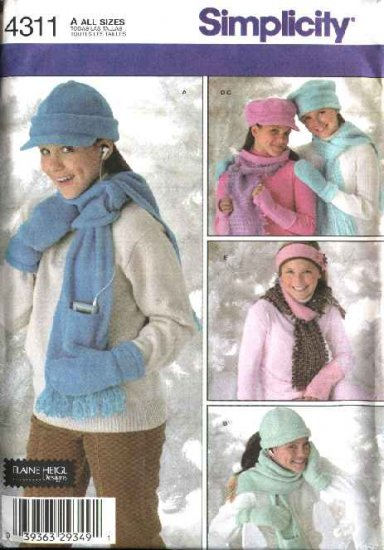 Simplicity Sewing Pattern 4311 Girls' All Sizes Fleece Hats Mittens Scarves Fashion Accessories
