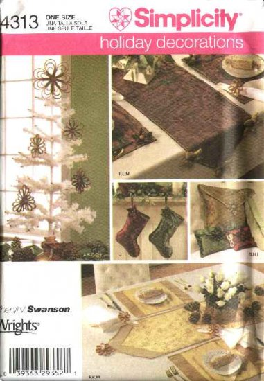 Simplicity Sewing Pattern 4313 Christmas Decorations Stockings Table Runners Pillows Ornaments