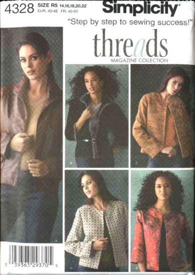 Simplicity Sewing Pattern 4328 Misses Sizes 14-16-18-20-22 Threads Magazine Collection Jackets