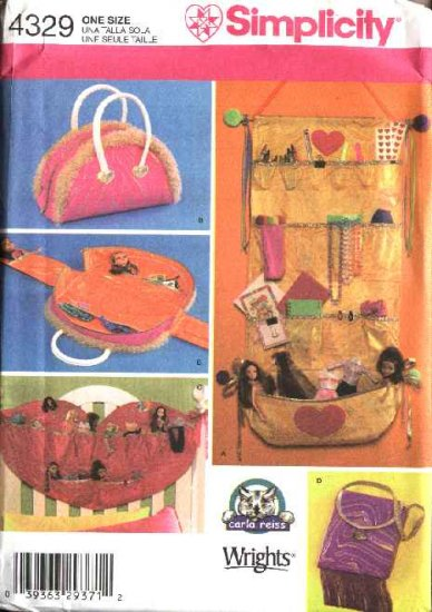 Simplicity Sewing Pattern 4329 Organizers for Dolls Carry Bag Barbie Bratz