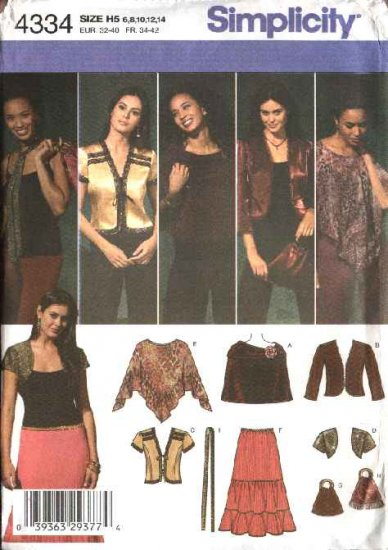 Simplicity Sewing Pattern 4334 0594 0743 Misses Size 14-22 Boho Wardrobe Skirt Jacket Shrug Poncho