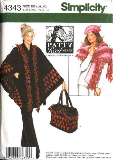 Simplicity Sewing Pattern 4343 Misses Size L-XXL 18-26 Poncho Shawl Bag Hat Patty Reed Design