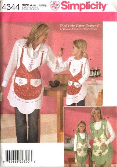 Simplicity Sewing Pattern 4344 Girls Misses Matching Vintage Style Aprons Embroidery