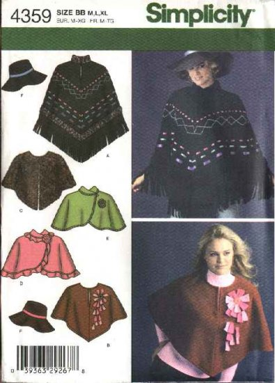 Simplicity Sewing Pattern 4359 Misses Size 14-24 Poncho Capelet Hat
