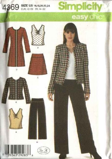 Simplicity Sewing Pattern 4369 Misses Size 8-16 Easy Wardrobe Skirt Pants Top Coat Jacket