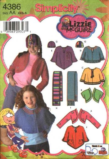 Simplicity Sewing Pattern 4386 Girls Size 7-16 Fleece Shrug Capelet Scarf Hat Lizzie Mcguire